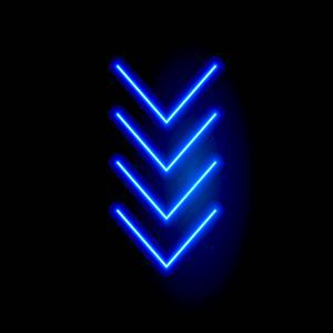 Neon arrow vector sign. Light arrow retro glow blue casino neon effect.