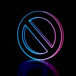 3d techno neon purple blue glowing outline wireframe symbol of circle ban sign isolated on black background with glossy reflection on floor
