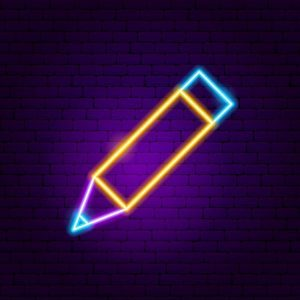 Pencil Neon Sign. Vector Illustration of User Interface Promotion.
